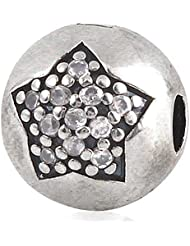 Star Charm Clip 925 Sterling Silver Zircon Stone Bead For European Bracelet Jewelry