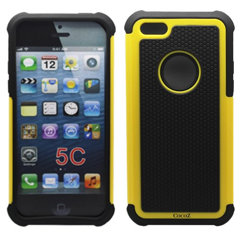 Cocoz®yellow/black Hard Soft High Impact Armor Case Combo Cover for Apple Iphone 5c At & T Verizon Sprint Dust Stylus (Yellow/black)-fs 334 Amazon.com