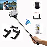 COCO-VISION Rechargable Adjustable Extendable Wireless Bluetooth Arm Monopod Handheld Self Portrait Selfie Stick with Remote Shutter Function for iPhone 6 6S 5S 5C 4S 4, Samsung Galaxy S3 S4 S5 Note 2 3 4 i9220 i9250 i9300 i9500 i9190, Blackberry, HTC, Sony, Nokia, LG, - Compatible with IOS 4.0/ Android 3.0(Black)