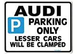 Audi Car Parking Sign - Gift for a2 a3 a4 tt tdi quattro 100 80 a6 models -Size Large 205 x 270mm