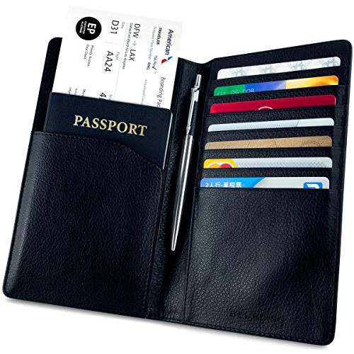 Beurling Leather Travel Wallet & Passport Holder - RFID Blocking Case Cover