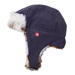 Zutano Baby Fleece and Faux Fur Aviator Bomber Trapper Winter Hat 18M Navy Blue