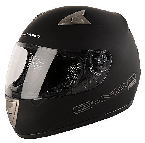 G-MAC 108136L02 Casco Moto Pilot Mono, Nero, Taglia L