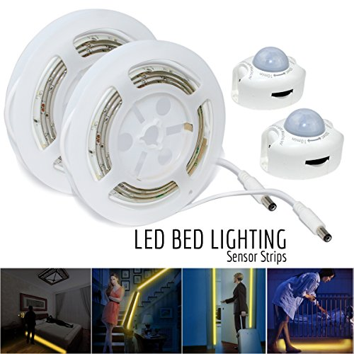 ESVNE LED Digital Bed-lighting Motion Sensor Light Strips Kit with UL Power Supply ,Activated Automatic Sensor LED Night Bed Light with Timer for Bed, Hallways, Stairs,Under Cabinet,Bedroom,Doorway (Foot Activated Timer compare prices)
