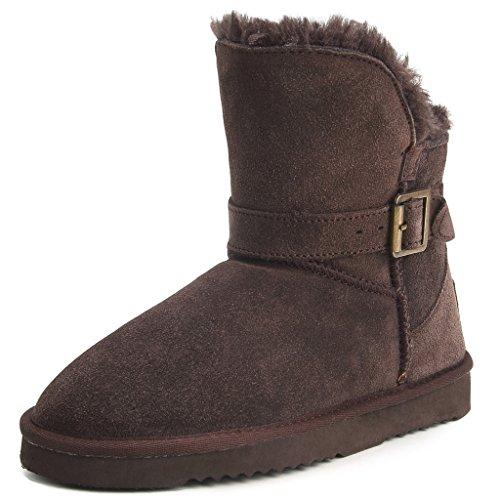 Sconto Shenda Scarpe invernali - Stivali in pelle con fibbia classici con caldo antiscivolo Donna 89527 Chocolate 40