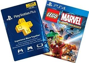Lego Marvel Super Heroes Digital Bundle: Game + 1-Year PS Plus - PS4 [Digital Code]