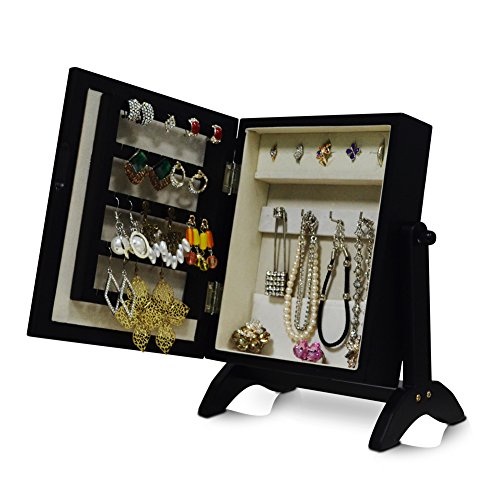 Organizedlife Small Jewelry Box Armoire Mirror Cabinet Organizer Desktop Ring Storage Beige Felt