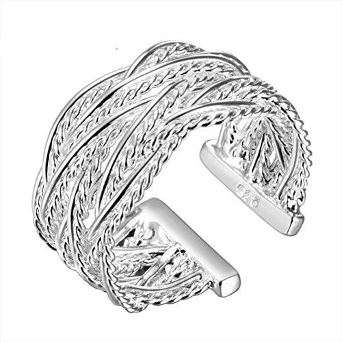 SunIfSnow Silver-Plated Customized Fashion Jewelry Small Net Woven Rings 8