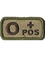 "Tactical Blood Type Patches - ""Type O Positive"" - 2""x1"" (Multitan)"
