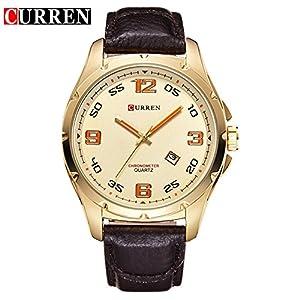 CURREN New Fashion Men's Gold Dial Wrist Watch 8020G