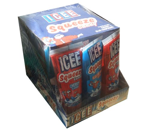 Icee Squeeze Candy Cherry, Green Apple, and Blue Raspberry (Pack of 12) (Cherry Icee compare prices)
