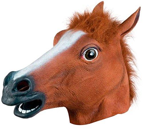 [Coxeer Deluxe Novelty Halloween Costume Party Latex Animal Horse Head Mask] (Horse Head Costume)
