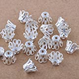 Beading Station 100-Piece Filigree Flower Cup Shape Bead Caps for Jewelry Making, 7mm, Silver