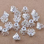 100pcs Silver Plated Filligree Flower...