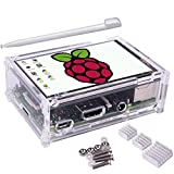 Kuman Raspberry Pi ディスプレイ タッチスクリーン 3.5インチ ケース ヒートシンク Pi 3B 2B B A A B 用 ランキングお取り寄せ