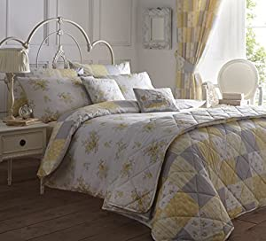 Yellow Grey Floral Patchwork 66x72 Pencil Pleat Thermal Lined Curtain Drapes by Curtains