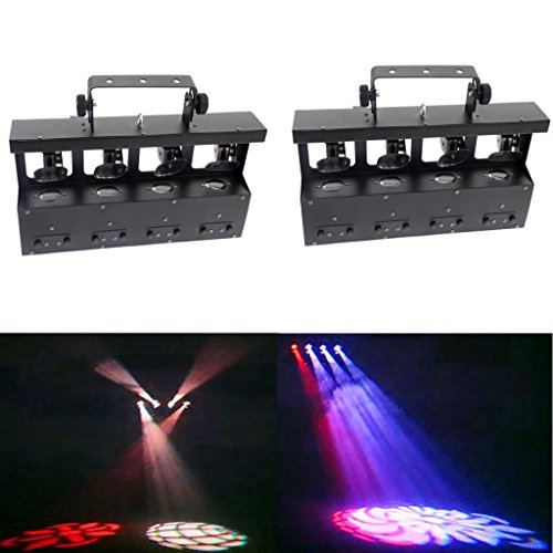 Yiscortm Stage Lighting Led Light Rgbw 4In1 Moving Head 4 Lens 12W Cree Quad Gobo Dmx512 For Home Garden Birthday Party Christmas Xmas Dj Disco Club Stage Effect (Pack Of 2)