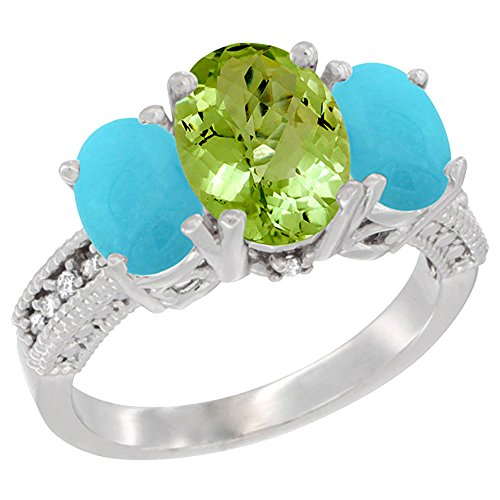 14K White Gold Diamond Natural Peridot Ring 3-Stone Oval 8X6Mm With Turquoise, Size 5
