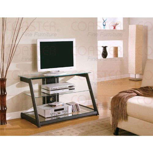 Image of Contemporary Black Finish TV Stand - Coaster Co. (B003XR851I)