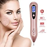 Skin Tag Remover, Mole Removal Pen, Portable Spot Eraser Pro Wart Remover with LCD Display & 8 Strength Levels Adjustable for Body Facial Freckle Nevus Warts Age Spot Tattoo Remover (Rose Gold)