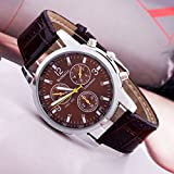 Hot Sell Famous Fahion Watch Luxury Trendy Men Round Dial Black Leather Strap Watches High Quality a Woman Men Sport Quartz Watch Brown+ Watch Cloth thumbnail