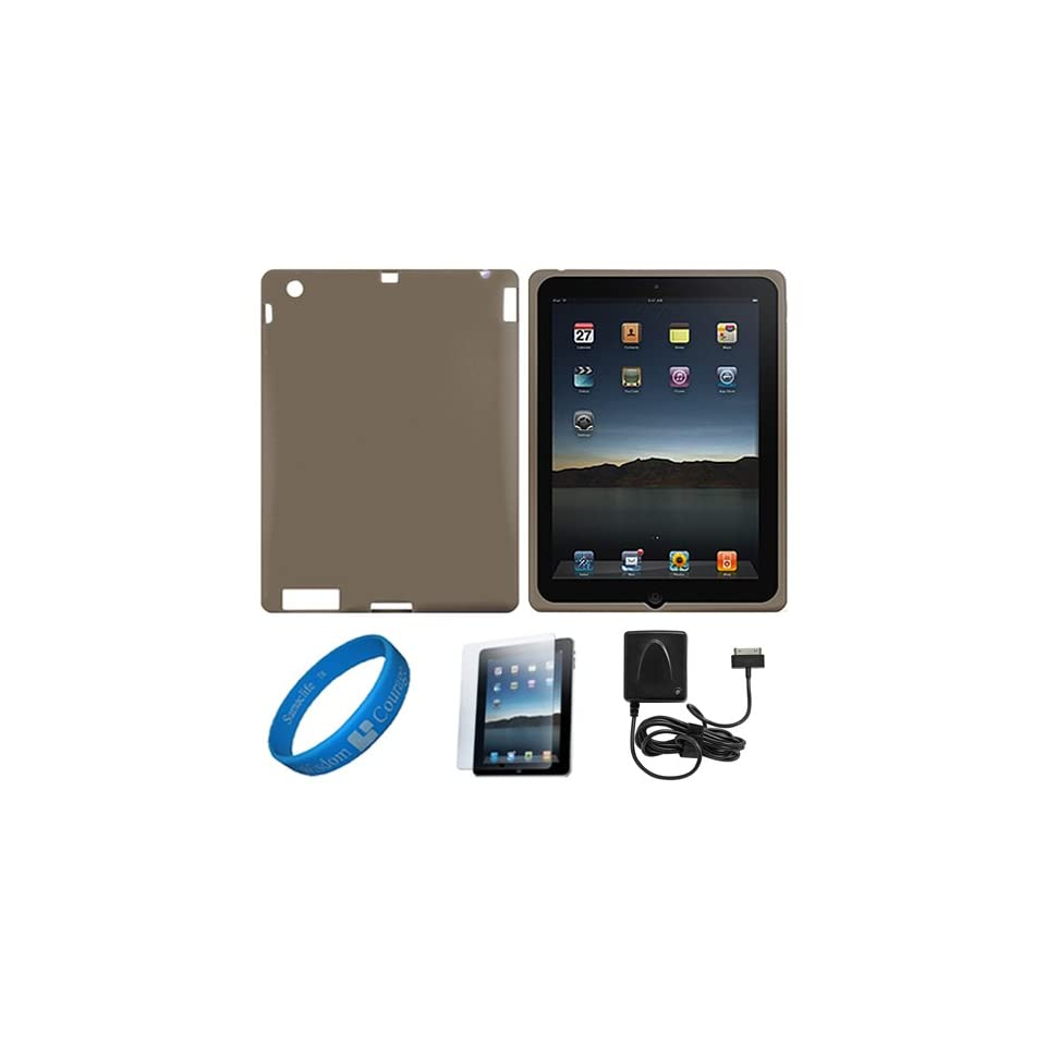 Smoke Premium Rubberized Protective Silicone Skin Cover for Apple iPad 4 NEWEST Model / New iPad 3rd Gen / Apple iPad 2 9.7 Retina Display Tablet + Anti Gloss Clear Screen Protector + Apple Licensed Cellet Home Charger With Folding Blade + SumacLife TM Wi