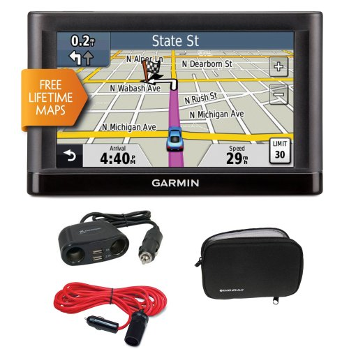 Garmin Nüvi 52Lm 5-Inch Portable Vehicle Gps + Gps Soft Carrying Case, 4-Way 12-Volt Adapter And 12V 12' Extension Cord With Cigarette Lighter Plug