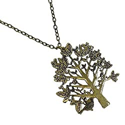 Burnished Goldtone Tree Pendant Necklace Fashion Jewelry