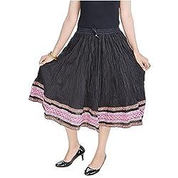 SHREEMANGALAMMART Rajasthani Ethnic Black Cotton Short Skirt (Black)(SMSKT587)