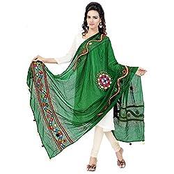 Banjara WomenS Cotton Stoles & Dupattas Kutchi Mirrorwork (Kch05 _Dark Green _Handicraft Dupatta_Free Size)