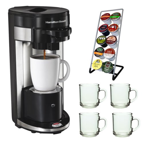Hamilton Beach 49995 FlexBrew Single Serve K-Cup Coffeemaker + Coffee Pod Stand + Stoneware Coffee Mug Set