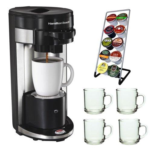 Hamilton Beach 49995 FlexBrew Single Serve K-Cup Coffeemaker + Coffee Pod Stand + Stoneware Coffee Mug Set