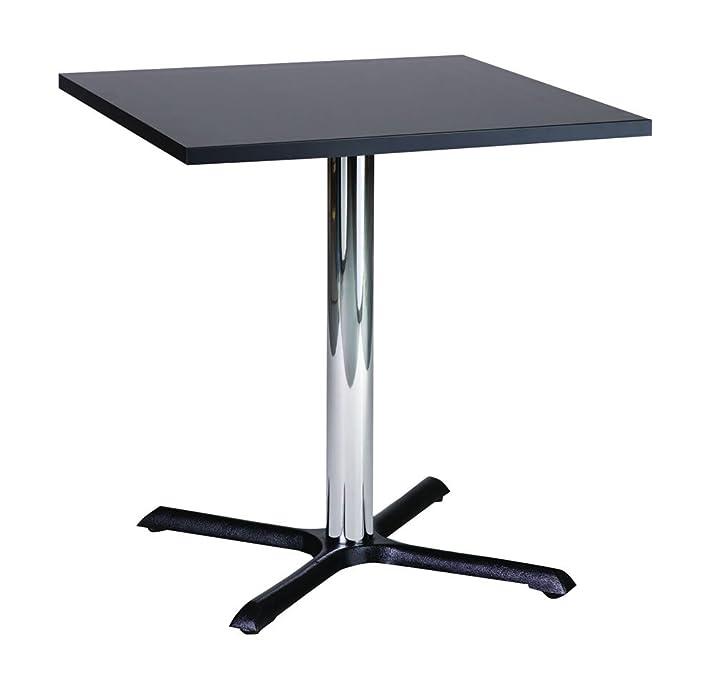 Tavolo quadrato piccolo da cucina, con base in metallo cromato, metallo, nero, 70 cm