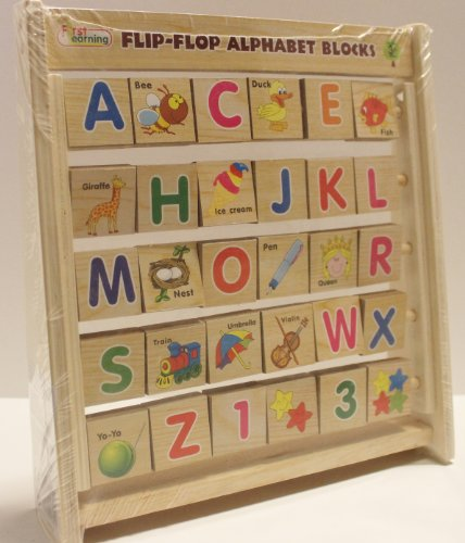 Toddlers First Learning Wooden Flip- Flop Alphabet Blocks Abacus - 3 Years & Up