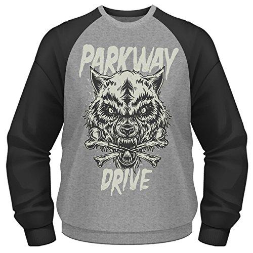 Plastic Head Parkway Drive Wolf & Bones Bcsw, Felpa Uomo, Grigio, Medium