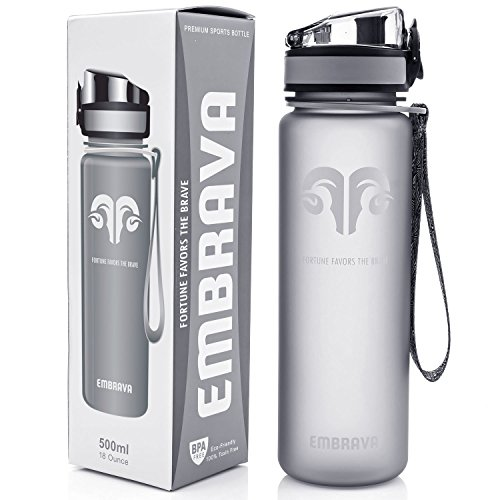 Best Sports Water Bottle - 18oz Small - Eco Friendly & BPA-Free Plastic - Fast Water Flow, Flip Top Lid, Opens With 1-Click (Motivational Sports Bottle compare prices)