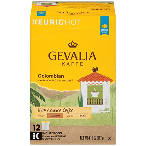 GEVALIA Kaffe Colombia K-CUP Pods - 12 count, Medium Roast (K Cup Coffee Medium Roast compare prices)