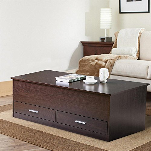 Yaheetech Slide Top Trunk Coffee Table with Storage Box & 2 Drawers, Espresso Finish (Storage Coffee Table Espresso compare prices)