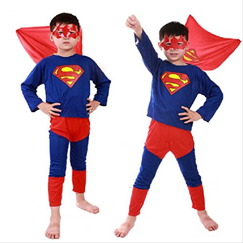 Cute Superman [children's] Makeover with badge original costume / Halloween party kids popular cosplay costume series / Christmas events kids fancy dress (Superman L)