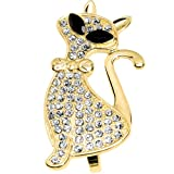 Size 6-7 Gold Tone Crystalline Fashion Feline Double Finger Ring