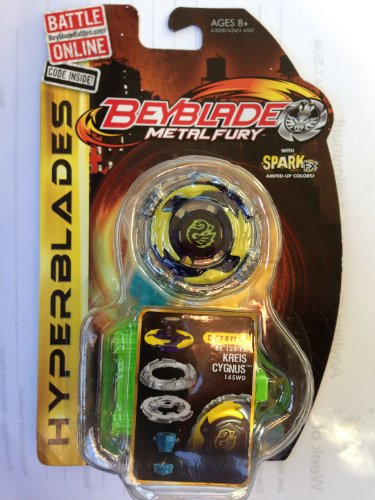 Beyblade Metal Fury Hyperblades Kreis Cygnus BB-124-FX 145WD Defence with Spark FX armed-up Colors!