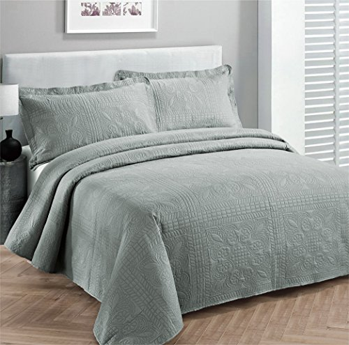 Read About Fancy Collection 3pc Luxury Bedspread Coverlet Embossed Bed Cover Solid Grey New Over Siz...