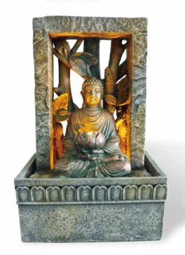 OK LIGHTING FT-1204/1L 9-Inch H Tabletop Buddah Led Fountain