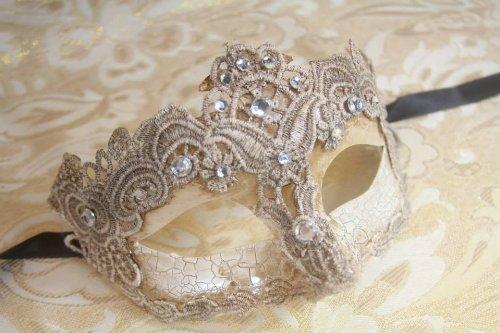 Vintage Gorgeous Venetian Mardigras Masquerade Fancy Mask w/ Brocade Crystals
