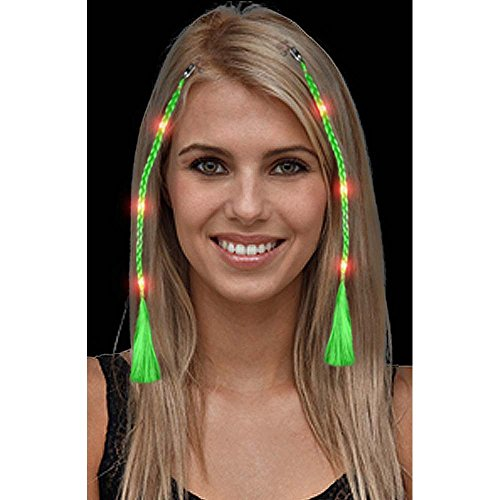 Led Green Braided Clip-In Hair Extension