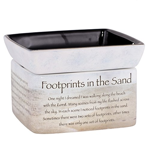 Footprints in the Sand Ceramic Stoneware Electric 2 in 1 Jar Candle and Wax and Oil Warmer