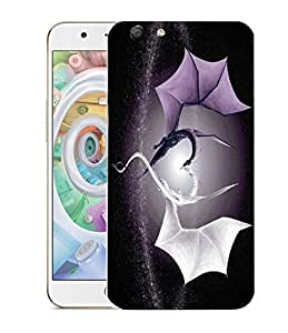 Snoogg Grey And White Dragon Designer Protective Back Case Cover For OPPO F1S