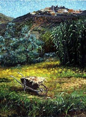 Wheelbarrow, Montecatini, Tuscany (oil on.. - Art Print - Medium - 28x35cm