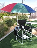 OASIS BIG DADDY Tall Heavy Duty Director Chair w/ Side Table-Storage Side Bag-Storage Bottom Net & BIG Umbrella-BULLET PROOF CONSTRUCTION-5 YEARS WARRANTY-OVERSIZE DIMENSIONS....