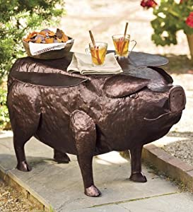 Pigasus Flying Pig Recycled Metal Side Table from Plow & Hearth®